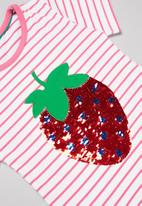 POP CANDY - Girls stripe strawberry tee - pink & white