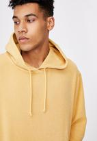 Factorie - Reverse fleece hoodie - washed chalk yellow