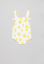 POP CANDY - Baby girls lemon playsuit - white & yellow