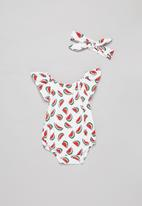 POP CANDY - Baby girls watermelon playsuit & headband set - white & red