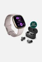 Fitbit - Fitbit sense lunar white + belkin earbuds bundle