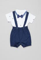 POP CANDY - Shorts with braces & tee set - navy & white