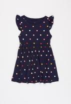 POP CANDY - Girls polka dot flutter sleeve dress - navy