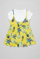 POP CANDY - Floral dress & tee set - yellow & white