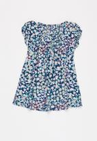 POP CANDY - Girls floral dress - blue & white