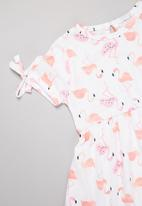 POP CANDY - Girls printed tie sleeve dress - white & pink