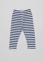 POP CANDY - Girls stripe legging - navy & white