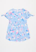 POP CANDY - Girls printed tie sleeve dress - blue