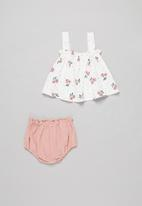 POP CANDY - Baby girls printed dress & pant set - white & pink