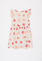 POP CANDY - Girls heart print flutter sleeve dress - multi