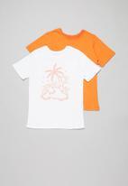 POP CANDY - Boys 2 pack printed tee - orange & white