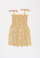 POP CANDY - Girls floral strap dress - yellow