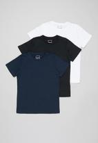 POP CANDY - Younger boys 3 pack plain short sleeve tees - multi