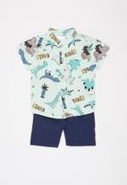 POP CANDY - Boys printed shirt & shorts set - green & navy