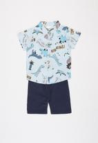 POP CANDY - Boys printed shirt & shorts set - blue & navy