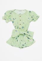 Sticky Fudge - Girls storks frill playsuit - aqua