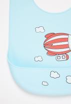 POP CANDY - Baby zeppelin waterproof bib - light blue & red