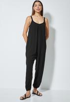 edit - Oversized woven jumpsuit - black