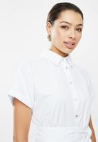 edit - Poplin grown on sleeve shirt dress - white