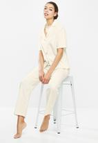 Superbalist - Linen sleep shirt & pants set  - cream