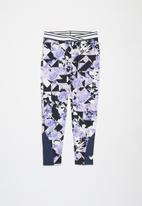 Nike - Nike girls tokyo floral all over print legging - purple & navy