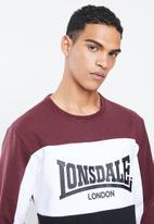 Lonsdale - Block check logo crew - burgundy & black