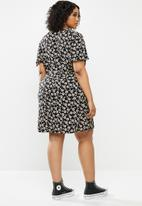Blake - Button down mini dress - black & ivory floral