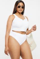 Cotton On - Curve high waisted full bikini bottom - white rib