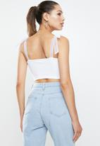 Blake - Ribbed combo crop top with organza sleeve ties - white