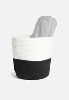 Sixth Floor - Two-toned cotton rope basket - black & white