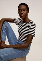 MANGO - T-shirt pschalo - white & black