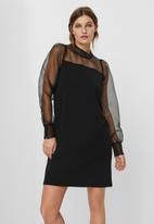 Vero Moda - Jana long sleeve short dress - black