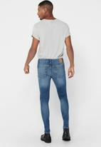 Only & Sons - Warp life skinny blue dcc jeans - mid blue