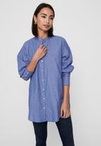 Jacqueline de Yong - Bubble life long sleeve frill long shirt wvn - blue