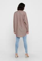 Jacqueline de Yong - Bubble life long sleeve frill long shirt wvn - brown