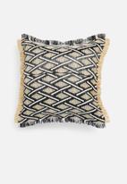 Sixth Floor - Coron raffia outdoor cushion - black & natural