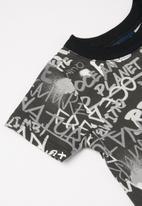 Quimby - Baby boys printed romper - black & grey