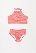 Gloss - Sun protection stripe bikini set - pink & red