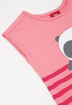 Bee Loop - Girls stripe T-shirt dress - pink