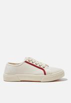 Cotton On - Lisa lace up plimsoll - ecru red contrast stripe