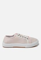 Cotton On - Lisa lace up plimsoll - baby pink white contrast stripe