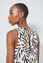 Superbalist - Hi neck trapeze dress - white marker print