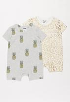Cotton On - 2 pack short sleeve snap romper - multi