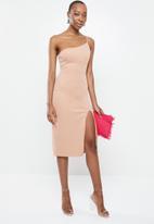 Blake - Asymmetric midi pencil dress - pink