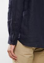 POLO - Lex plain linen custom fit shirt - navy