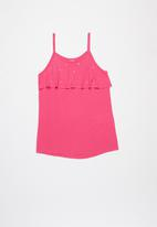 Quimby - Girls embroidered tank top - pink