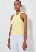 Superbalist - Lycra rib extreme cutaway vest - yellow