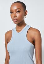 Superbalist - Lycra rib extreme cutaway vest - blue