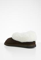 Karu - Cosy suede wool inner slipper - brown