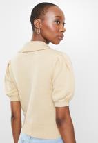 Glamorous - Puff sleeve summer knit - beige